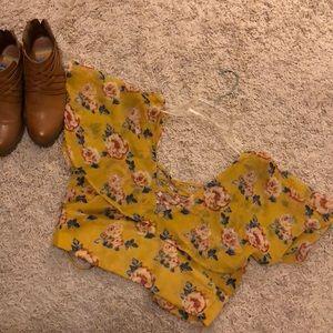 Mustard floral crop top
